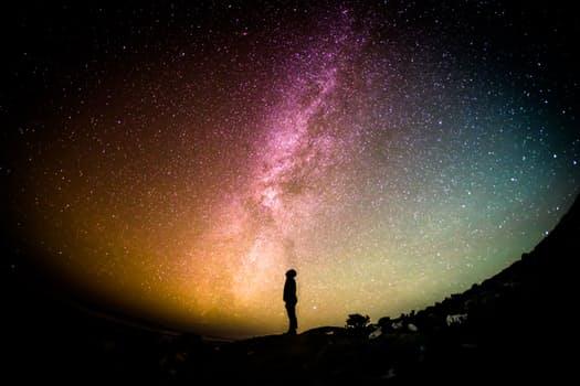 silouette person night sky color